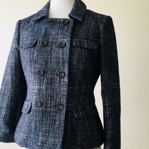 {BR} double breasted tweed jacket